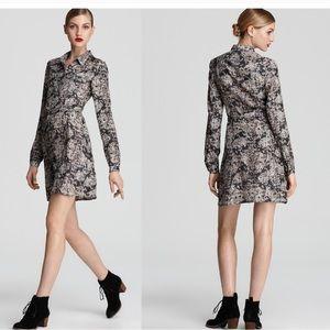 Theory Anaine Snake Print Silk Shirt Dress